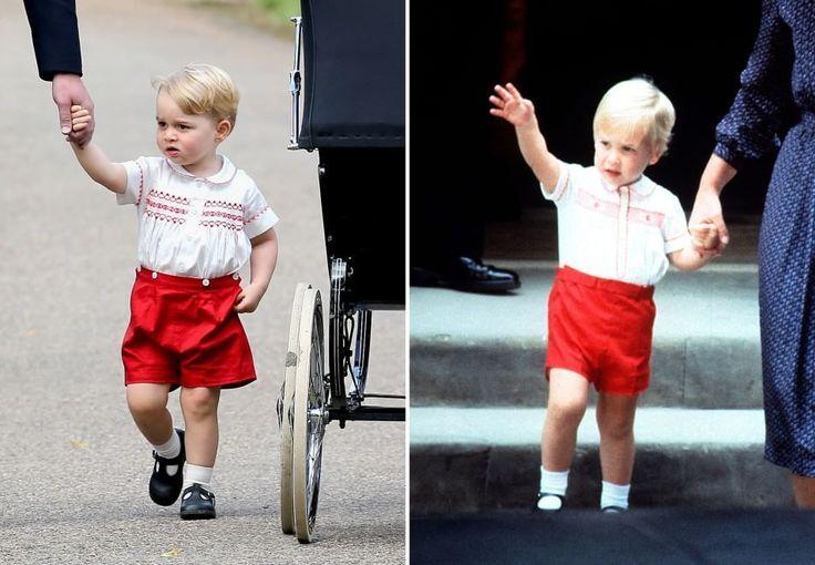 Il principe George (a sinistra) oggi al battesimo della principessa Charlotte. A destra, suo padre William 34 anni fa in occasione della nascita di suo fratello Harry