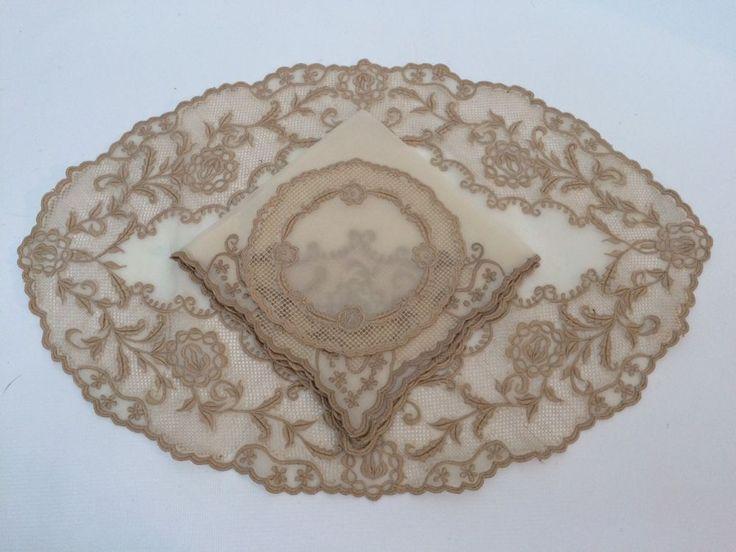 Victorian Antique Organdy Lace Placemat Napkin Goblet Coaster Set 24 Pc Ecru