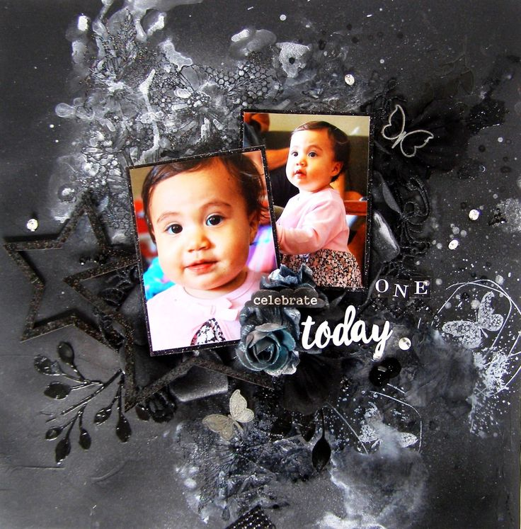 Celebrate One Today - Mixed Media layout with Scrapmatts chipboards and stencils, and Tattered Angels Mists