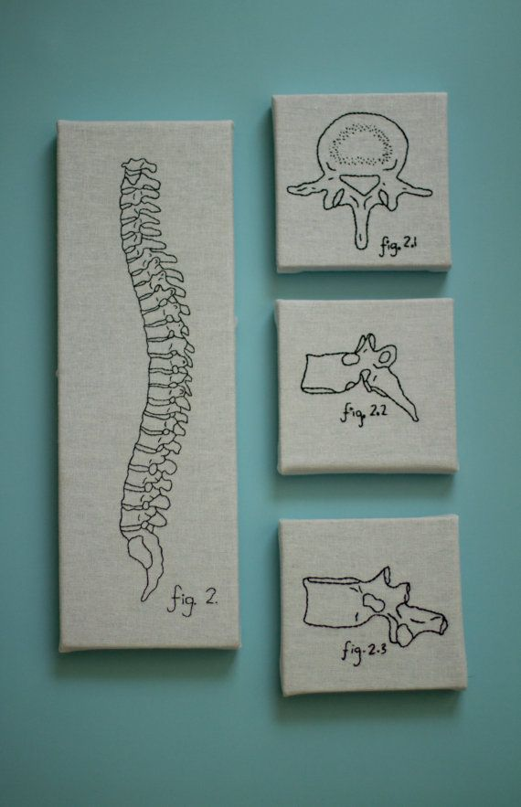 Hand embroidered spine set of 4