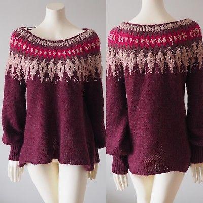 Free-People-039-Baltic-Fairisle-039-Sweater-Berry-Comno-Long-Tulip-Sleeves-Size-S-XS