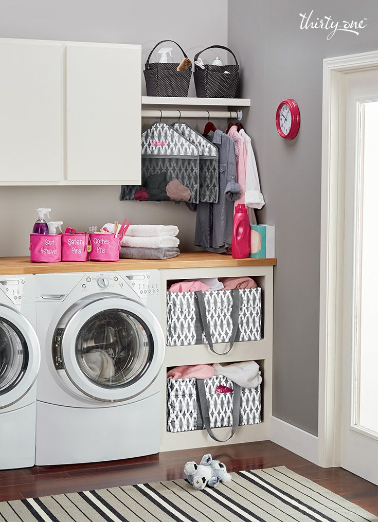 Doing the wash might not be fun, but at least it can be cute with laundry room solutions in coordinating prints. Www.mythirtyone.com/caitlinm