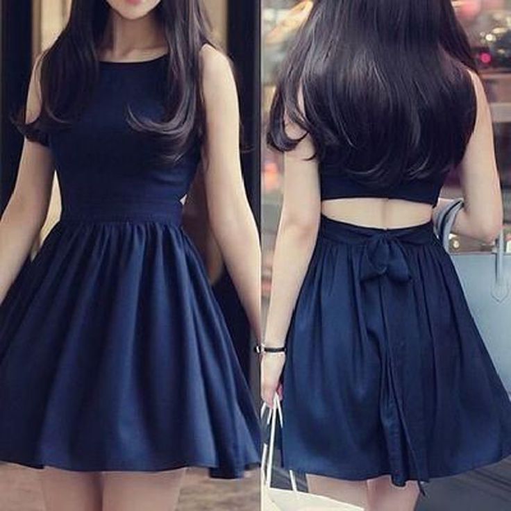 Classic Bateau Sleeveless Short Navy Blue Dress Open Back with Bowknot
