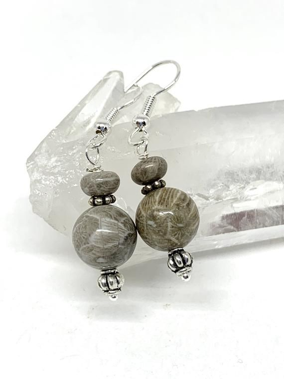 Fossilized Coral Anniversary Gift Dangling Earrings Petoskey Stone Earrings Wedding Birthday Gift. Christmas Gift Gift For Mom