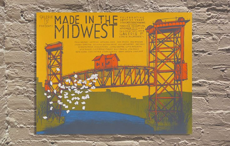 "Made In The Midwest show poster by Jay Ryan of The Bird Machine 24""x18""  Screen Printed Edition of 135: Picture-Black Posters, Gig Posters"