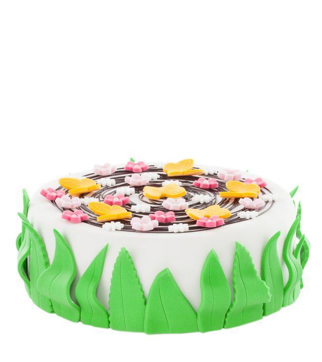 Dětský dort č. 19 Dětský dort obalovaný fondánem, o průměru 32 cm, dozdoben fondánovými kytičkami.  Dort je vhodný pro větší narozeninové oslavy, dort lze rozdělit až na 25 porcí.