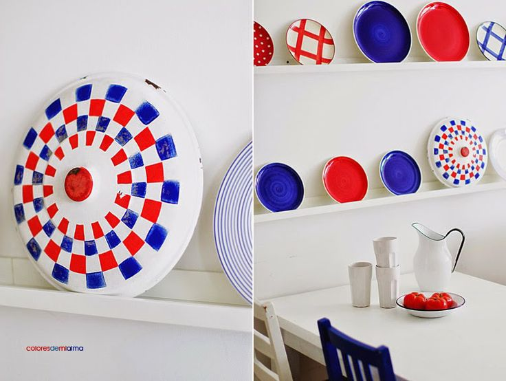 enamel. emalia. vintage, red, white blue