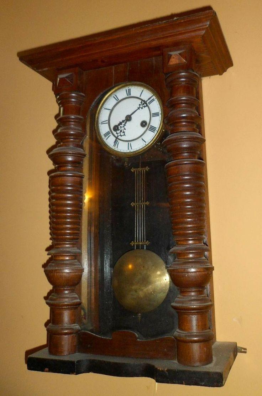 Reloj Pendulo Funciona Antiguo Caja De Madera Aleman