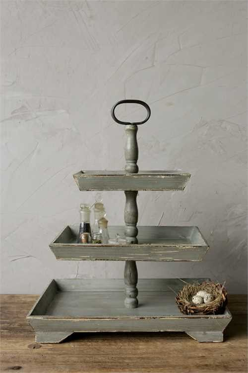 "We love tiered trays and this square 3-tiered tray stopped us in our tracks! 19 ½"" long x 25 ¼"" high"