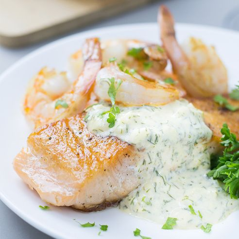 ... Sauce - This Seared Salmon and Shrimp with Creamy Dijon Dill Sauce is
