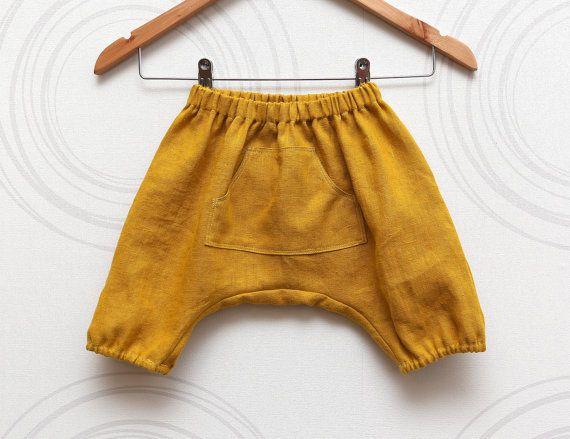 Yellow linen kids harem shorts, baby and toddler sarouel, Spring color aladdin pants //  Size US6-12month (EU72), US1.5(EU92)