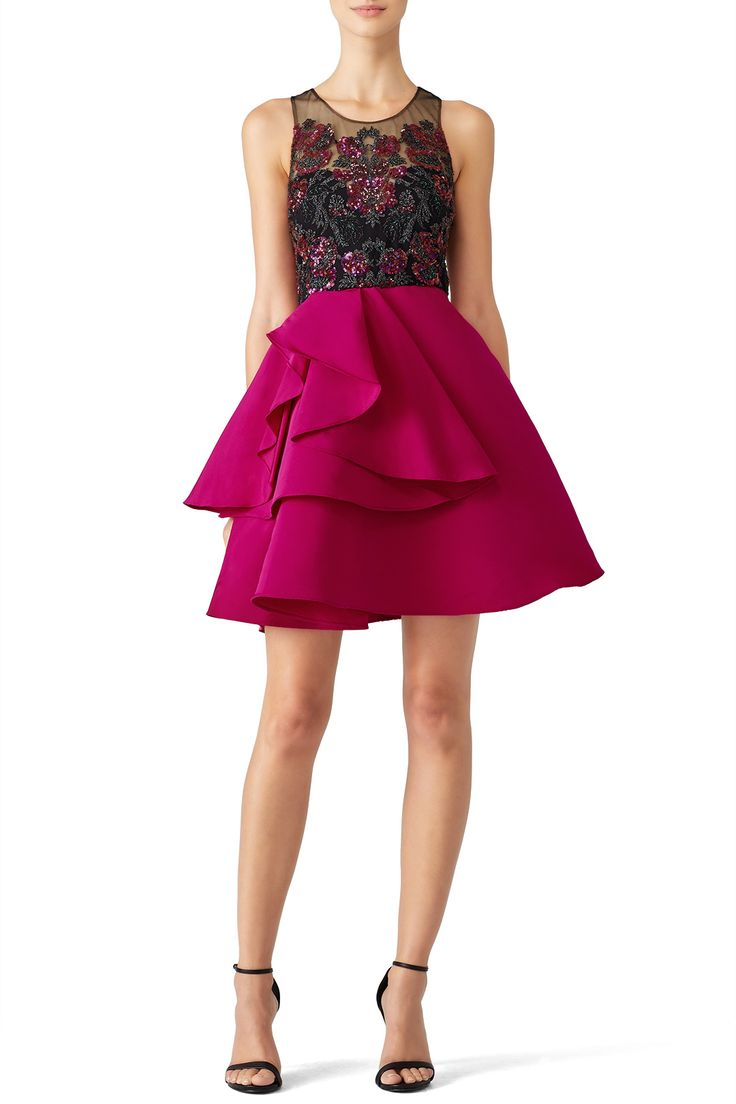 Rent Fuchsia Embroidered Cocktail Dress by Marchesa Notte for $110 only at Rent the Runway.