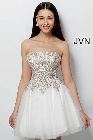 Off White Gold Fit and Flare Embroidered Homecoming Dress JVN63635  JVN   Homecoming  shortdress  cocktaildress  party  collection2018 b93788204