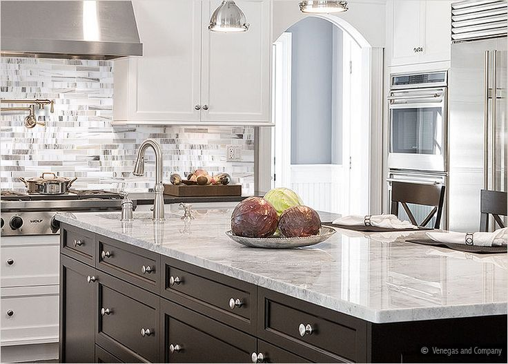 Just With All Dark Cabinets, Dark Floors And Dark Wood Island. The Marble  Countertops And Subway Tile Backsplash Are Perfect. This Is My Dream Kitchen .
