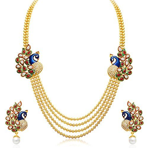 Sukkhi Gleaming Peacock Four Strings Gold Plated Necklace Set is made of Alloy. Women love jewellery; specially artificial jewellery adore a women. They wear it on different occasions. They have special importance on ring ceremony, wedding and festive time. They can also wear it on a regular basis . Make your moment memorable with this range. This jewellery features a unique one of a kind traditional emblish with antique finish. Plating: Gold