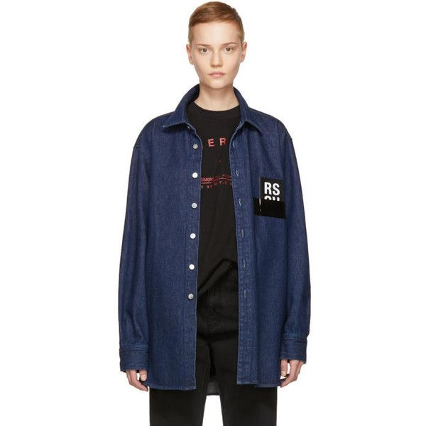 Raf Simons Navy Denim Shirt (€285) ❤ liked on Polyvore featuring tops, navy, long-sleeve shirt, raf simons shirt, denim long sleeve shirt, blue long sleeve shirt and blue long sleeve top
