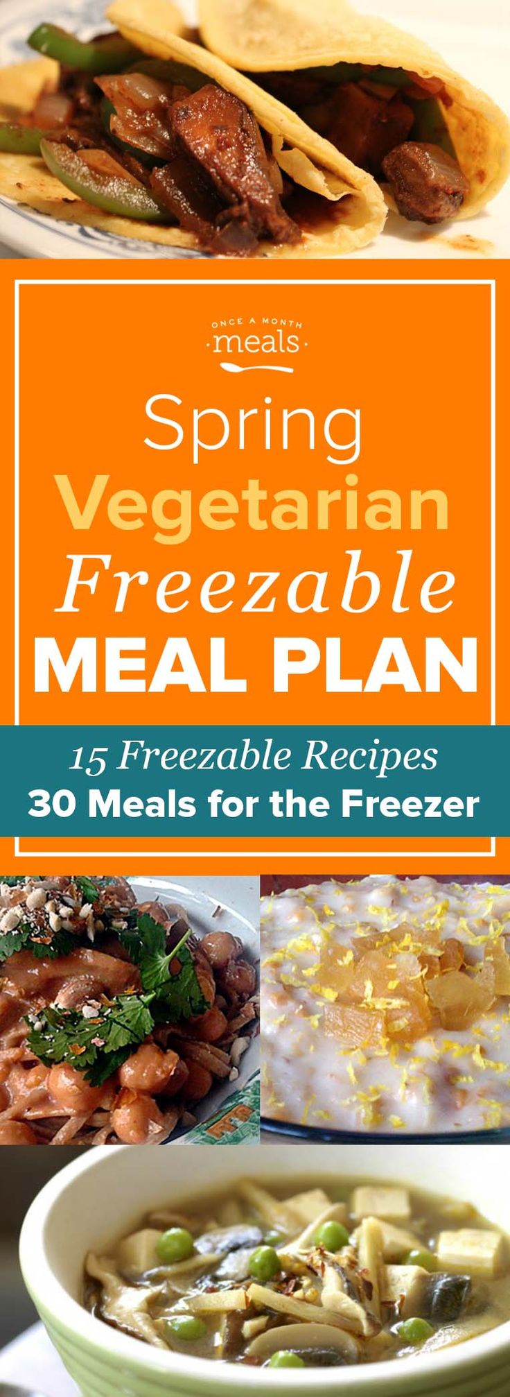 """This Spring Vegetarian Freezer Menu keeps things simple with plenty of easy assembly or """"throw and go"""" freezer meals, but still celebrates seasonal tastes with spirit. Spinach, broccoli, and asparagus all make appearances and bring a verdant liveliness to these vegetable-centric recipes."""