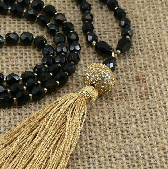 Long Luxe Tassel Necklace  Faceted Czech black by MMDJewellery.... Mad about tassels!