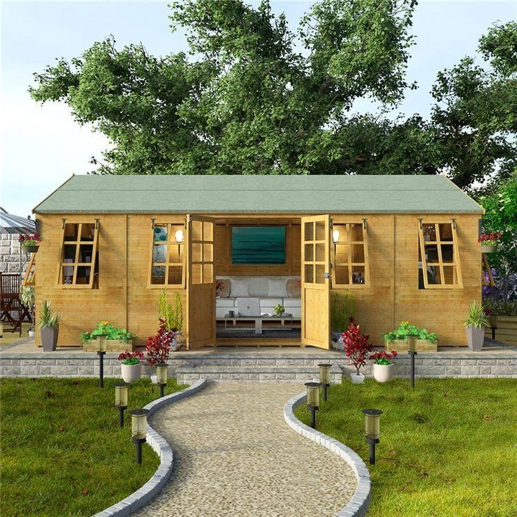 Wooden Office Studio Cabin Summer House Outdoor Garden Log Spare Gym Shed Room | eBay
