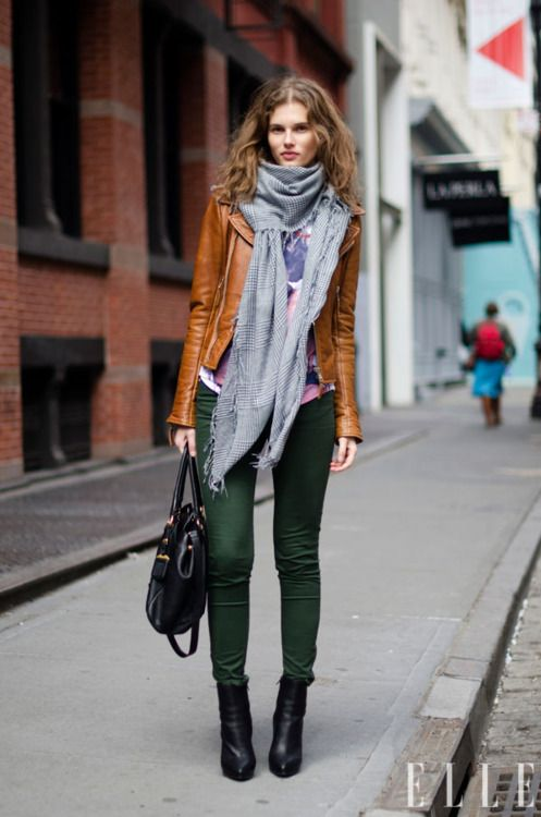 for fall. Street Chic: New York: Green Jeans, Colors Combos, Green Skinny, Street Style, Black Boots, Outfit, Leather Jackets, Scarfs, Green Pants