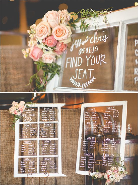 vintage window seating chart @weddingchicks