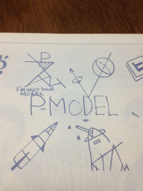 Pモデルのデビューの頃のサイン。左上は平沢さんだけど、これを「ススム」と読むのはしばらくわからなかったよ。