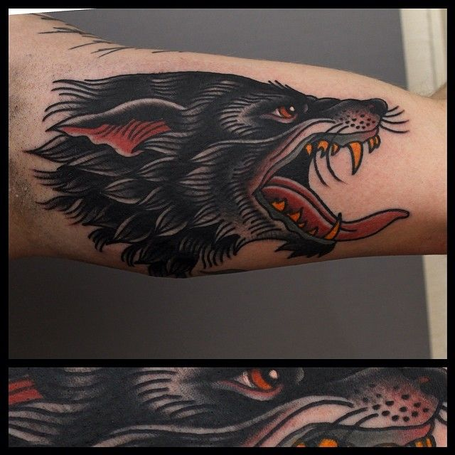 traditional wolf head tattoo Tony Nilsson, Blue Arms ...