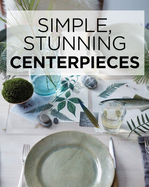 Add a finishing touch to any occasion with eye-catching, easy-to-make centerpieces.For a twist on traditional table runners, place a small sheet of clear polycarbonate over prints, ferns, and other natural ephermera.