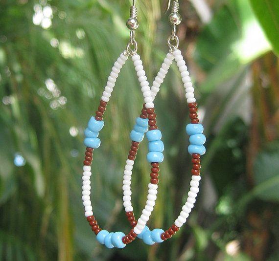 Native American style earrings long beaded by SunshineDaydreamz