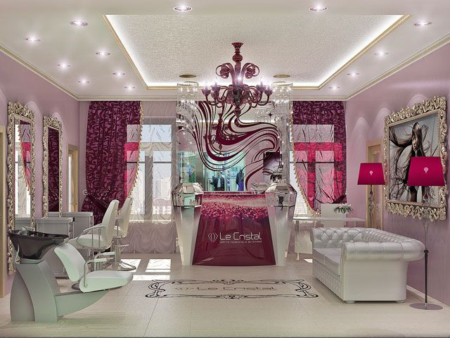 Interior design beauty salon burgundy color sal o de for Beauty salon designs for interior