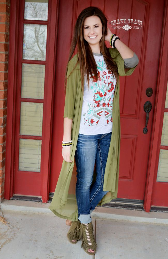 Crazy Train Clothing Outlaw Olive Duster Green Southwestern Boho Sizes Small-Lg #CrazyTrain #Duster