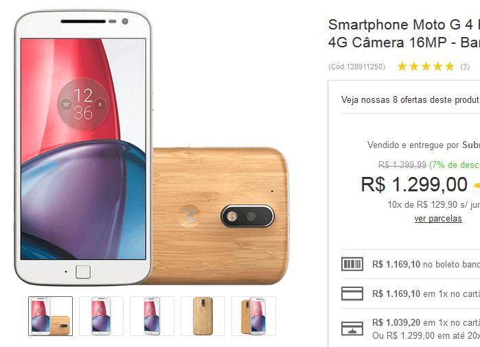 "Smartphone Moto G 4 Plus Bambu Dual Chip Tela 55"" 32GB 4G Câmera 16MP << R$ 93528 >>"