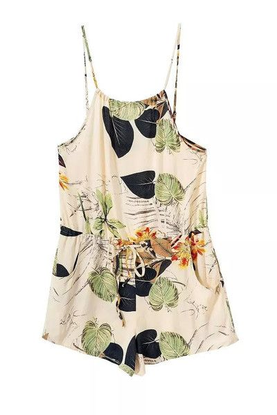 Flower Printed Backless Romper Jumpsuit