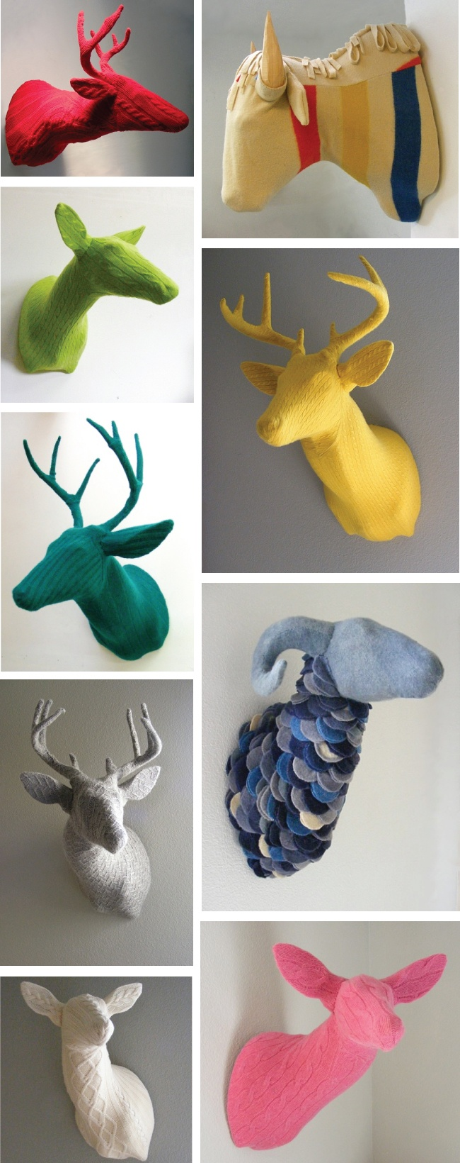 Knit covered deer / bison / whatever heads by Rachel Denny.