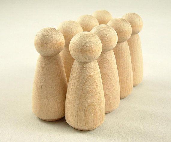 Cheville en bois poupées en bois de vingt filles Peg by WooWeeble | Etsy