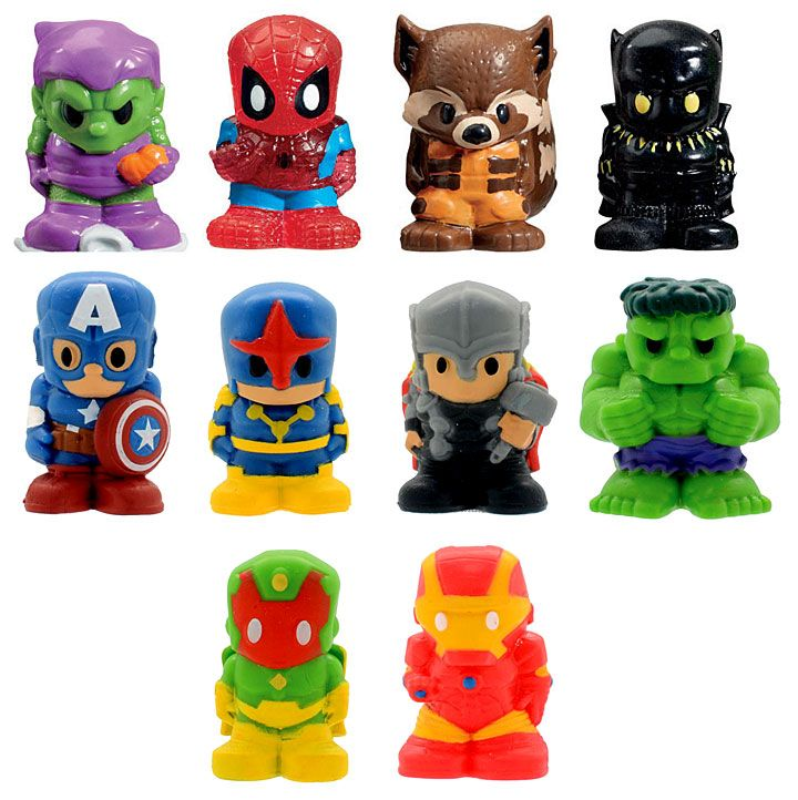 Ooshies - Marvel figs - ooshies.net - Green Goblin, Spiderman, Black Panther, Captain America, Thor, Hulk, Iron Man