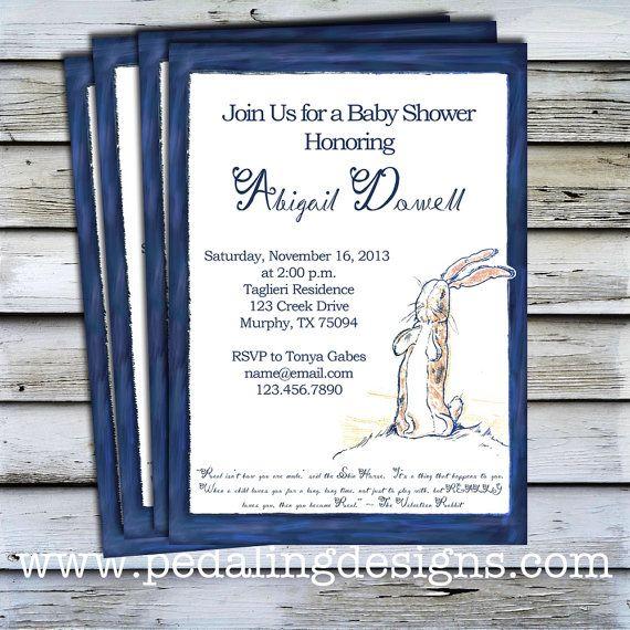 Printable Shower Invitation Velveteen Rabbit by pedalingdesigns on Etsy, $10.00
