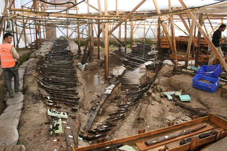 8 Byzantine Empire Era Shipwrecks Excavated in Turkey. The galley of the ship called YK 4 was split longitudinally shortly after it was excavated. The ship's bow is in the foreground of this photo, taken in October 2006. (Photo courtesy Institute of Nautical Archaeology at Texas A&M University/M. Jones.)