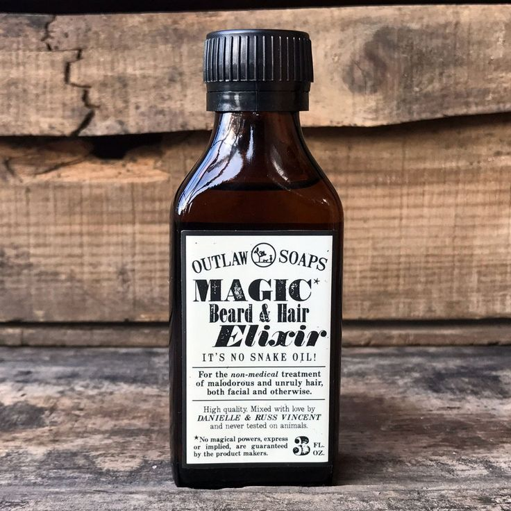 Magic Beard and Hair Elixir: now with a beautiful new label just like an old snake oil bottle... but it's not snake oil! It's the perfect beard oil for all your grooming needs.
