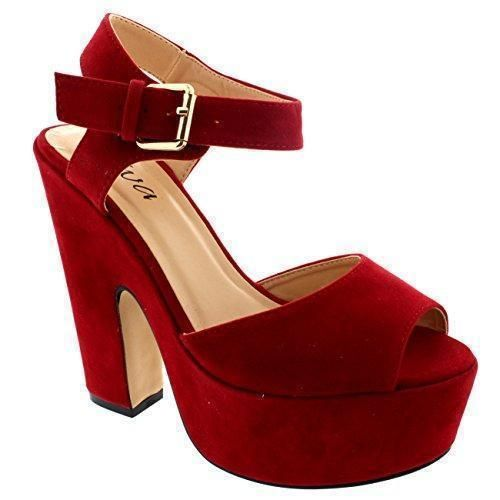 Oferta: 26.99€. Comprar Ofertas de Mujer Correa Tobillo Zapatos Plataforma Tacones Faux Gamuza Sandalias - Rojo - 40 barato. ¡Mira las ofertas!