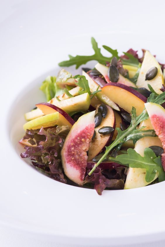 A refreshing side or light starter, this fruity salad from chef Peter Joseph is a signature dish on the Tamarind restaurant menu. With the crunch of apples and pumpkin seeds, soft stone fruit and a spiced, citrus dressing, it's a great recipe to spice up your salad repertoire.