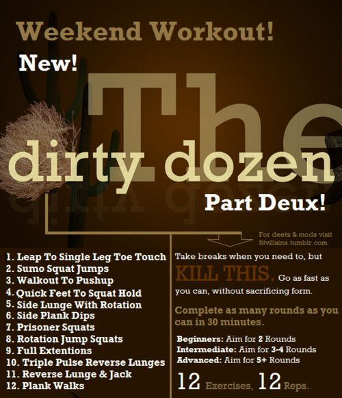 Advanced: Dirty Dozen, Homes Workout, Dance Moving, The Weekend, Work Outs, Dirtydozen, Jumping Jack, Circuit Training Workout, Weekend Workout