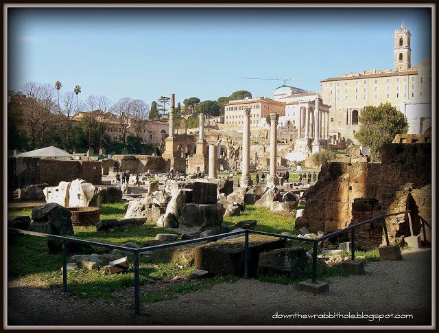 """Stroll through the majestic Forum in Rome and check out all the amazing ruins. Find out more at """"Down the Wrabbit Hole - The Travel Bucket List"""". Click the image for the blog post."""
