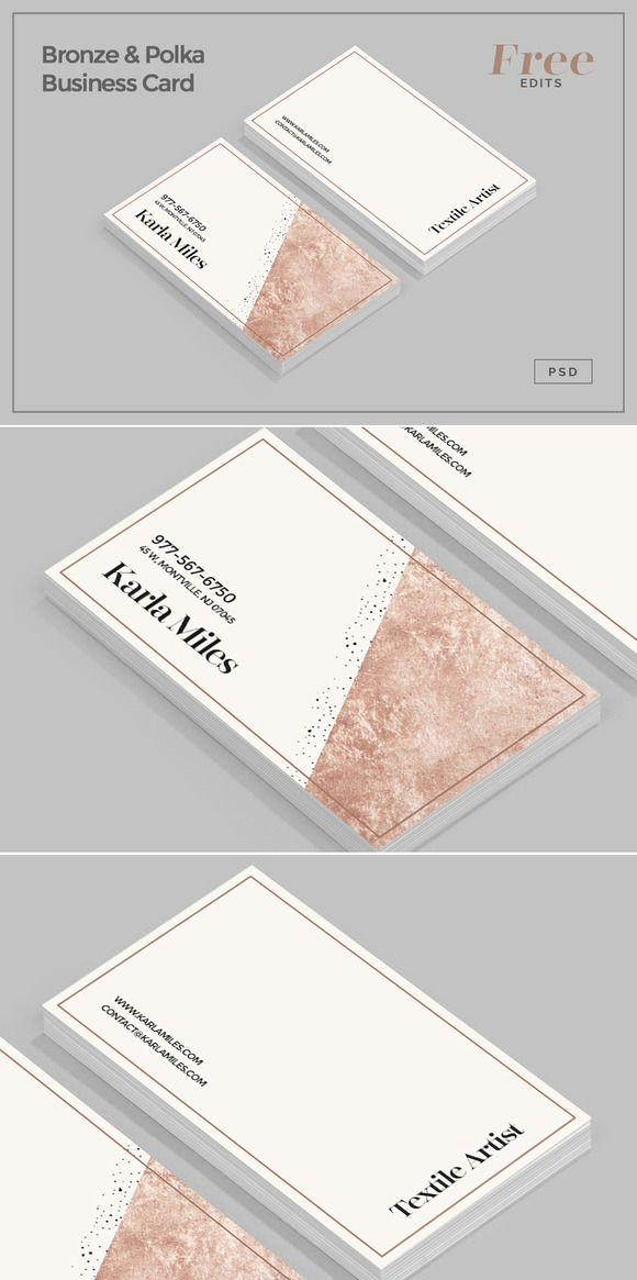 Bronze & Polka Dots Business Card by Design Co. on Creative Market