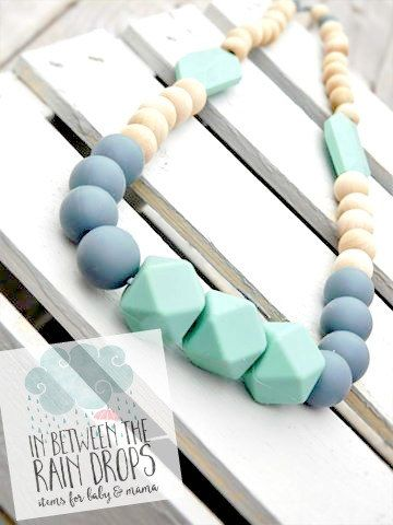 Teething necklace for mom to wear/ Baby by InBetweenTheRaindrop