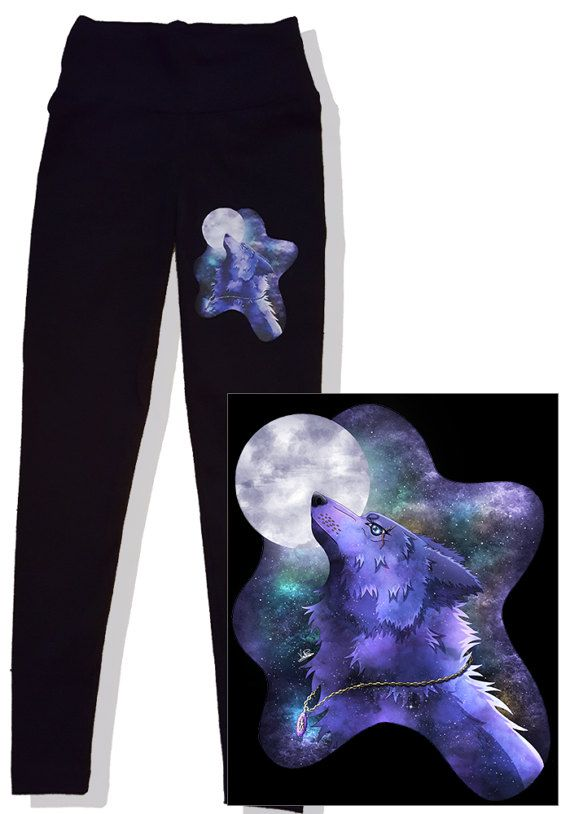 Cartoon animal Wolf Galaxy light blue Leggings Black printed gift feminine