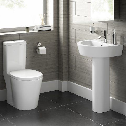 Albi Close Coupled Toilet and Pedestal Basin Set Round Design - soak.com