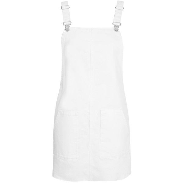 Topshop Moto White Denim Pinafore Dress (2,330 PHP) ❤ liked on Polyvore featuring dresses, overalls, topshop, white, criss-cross back dresses, topshop dresses, white cross back dress, denim dresses and pinny dress