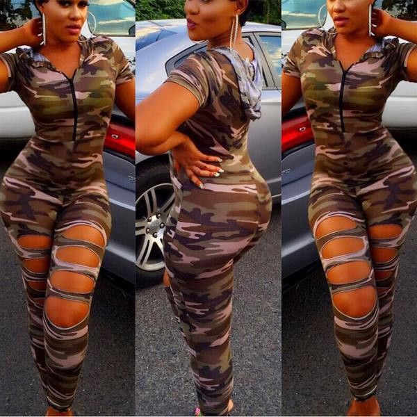 Women Hooded Camouflage Jumpsuit Short Sleeve Hoodies Zip up Skinny Elegant Overalls with Hole Army Green Casual Suits Rompers-in Jumpsuits from Women's Clothing & Accessories on Aliexpress.com | Alibaba Group