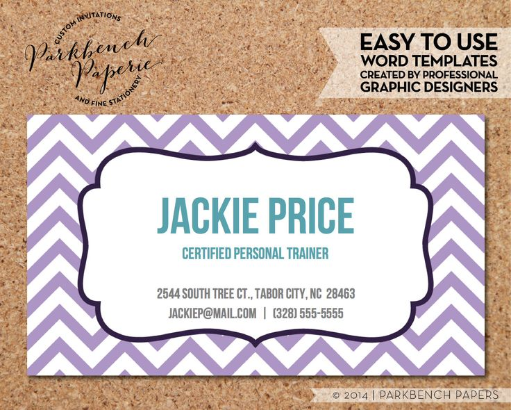 Business Card Template - Lavender Chevron & Frame -  DIY Editable Word Template Instant Download Printable